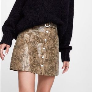 NWOT Faux Leather Snakeskin A-line Skirt